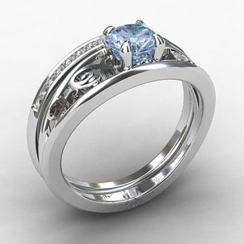 Engagement Ring Set Aquamarine Ring From TorkkeliJewellery