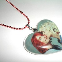 Kurt N Courtney Heart Pendant Grunge Rock Nirvana by CherryPiePunk