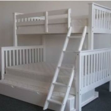 Amazon.com: Bedz King Bunk Bed with Twin Trundle, Twin Over Full Mission Style, White: Home & Kitchen