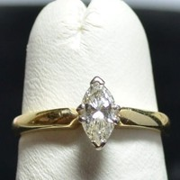 14 & 18 Karat Diamond 33pt VS1 Marquise Cut Ring