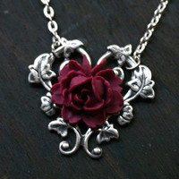 Red Rose Necklace  Alice in Wonderland by robinhoodcouture on Etsy