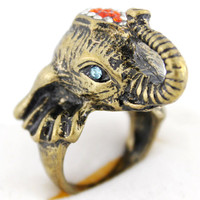 Cute Goldtone Crystal Elephant RingSize 6 by JuliesJewelryStore