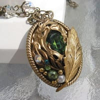 Under the Leaves Emerald Green Crystal Necklace by steamheat