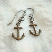 Dainty Anchor Earrings - Nautical Antique Brass Anchor Earrings - Spring Collection