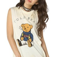 UNIFTop Yolo Bear Distressed Muscle Tee in Off White