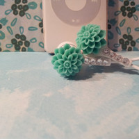 Pretty Seafoam Green  Dahlia Earbuds