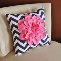 Pink Dahlia on Navy and White Zigzag Pillow -Chevron Pillow-