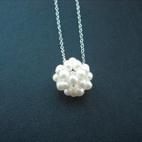 freshwater pearl cluster necklace sterling silver by Lana0Crystal