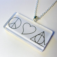 Peace Love &amp; Deathly Hallows Necklace by trophies on Etsy