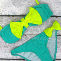 St. Croix Neon Mint &amp; Yellow Big Bow Sailor Bikini