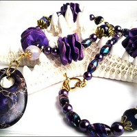 Purple Impression Jasper,Agate,Glass Pearl Necklace and Earrings Set