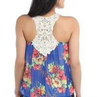 chiffon floral print high low tank top with racer back crochet patch - 1000046372 - debshops.com