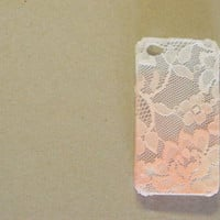 Ombre Iphone Lace Case in peachy pink