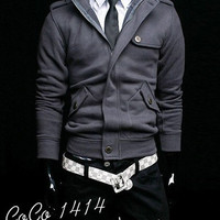 New Mens Spring Autumn Cool Buttons Zip Coat Jackets Outerwear 4 Colors
