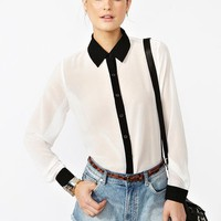 Chiffon Tux Blouse  in  What's New at Nasty Gal
