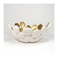 White Bubble Bowl with Gold  Luminosity / Gift under by mkwATELIER