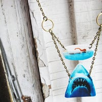 Shark Necklace Geekery Women Jewelry Swimming by whatanovelidea