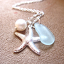 Seafoam seaglass Necklace with silver plated Starfish &amp; swarovski pearl - Perfect nautical gift for mother&#x27;s day