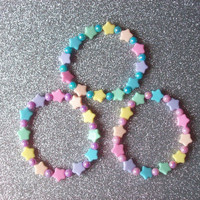 Pastel Pearly Beads and Rainbow Stars Stretch Bracelets - Set of 3