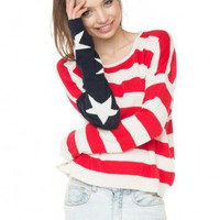 Brandy ♥ Melville |  Cassidy American Flag Sweater - Knits - Clothing