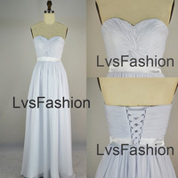 Strapless Sweetheart Floor Length Chiffon Pure White Prom Dresses Bridesmaid Dresses Wedding Party Dress