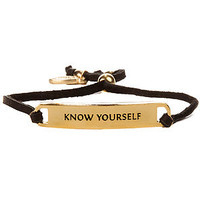 Ettika The Know Yourself Leather Bracelet in Black Gold : Karmaloop.com - Global Concrete Culture
