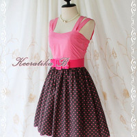 Jazzie III - Sweet Cutie Spring Summer Sundress Pink Top With Brown Polka Dot Skirt Scallop Hem Party Dinner Dancing Dress