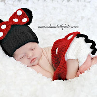 Crochet Baby Minnie Mouse inspired Hat, Diaper Skirt and Shoes Set