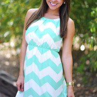 Innocence In Chevron Dress: Mint/Off White | Hope&#x27;s