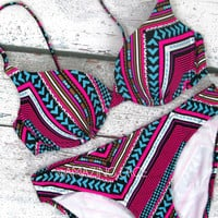 Salt Water Kisses Push Up Bikini Tribal Aztec Neon Pink
