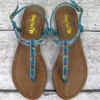 Rockland Teal Tribal Knit Ankle Sandals