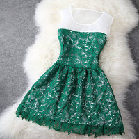 Dark Green Lace Dress #095