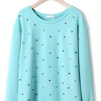 Mint Blue Sweatshirt with Crystal Diamond Jewel Decor
