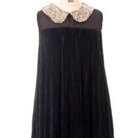 Sequins Collar Pleated Chiffon Top in Black - Tops - Retro, Indie and Unique Fashion