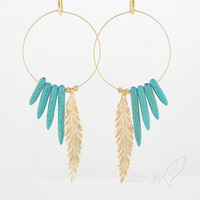 Native Inspired// Large Hoops with Blue Turquoise Spike Horn, Statement Long Feather and Floral Beads, 4.25&quot; Earrings