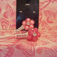 Super cute Pink Petal flower earbuds with swarovski crystals