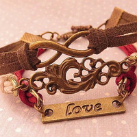 Infinity and Love. cuff style bracelet