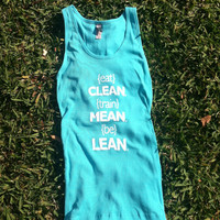 Eat Clean Ribbed Tank Top, Tahiti Blue, MEDIUM
