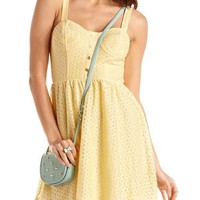 Gold Button Crochet A-Line Dress: Charlotte Russe