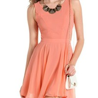 Button-Back Chiffon A-Line Dress: Charlotte Russe