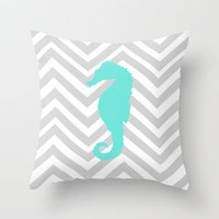 Chervon Seahorse Throw Pillow by Sunkissed Laughter | Society6