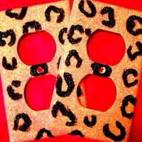 Set of 2 Glittered Cheetah Outlet Covers