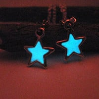 Glow in the Dark Star Lariat Necklace, Silver Finish, Unique Gift