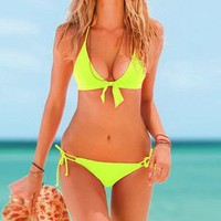 Neon Lime Halter Top & Side-tie Bottom — Faboutique