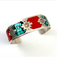 Vintage Handmade Turquoise Chip Inlay Red Enamel Southwestern Cuff Bracelet