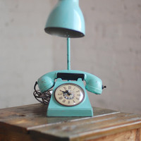 Vintage Teal Phone Clock Lamp