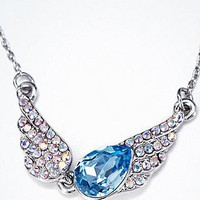 [26.59] Pretty Wings Pendant With Austria Crystal Necklace Blue - Dressilyme.com