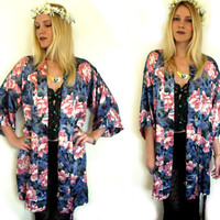 Vintage 90s Flower KIMONO Robe Gypsy BOHO Jacket Women's Hippie Outerwear