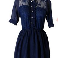 CHIC BUTTON UP LACE DRESS