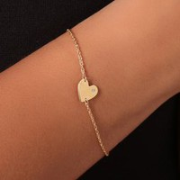 Jennifer Zeuner Jewelry Heart Chain Bracelet with Diamond | SHOPBOP